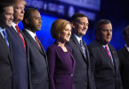 Republican presidential candidates, from left, Marco Rubio, Donald Trump, Ben Carson, Carly Fiorina, Ted Cruz, and Chris Christie take the stage during the CNBC Republican presidential debate at the University of Colorado, Wednesday, Oct. 28, 2015, in Boulder, Colo. (AP Photo/Mark J. Terrill)